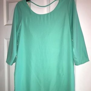 Turquoise knee length dress with open back